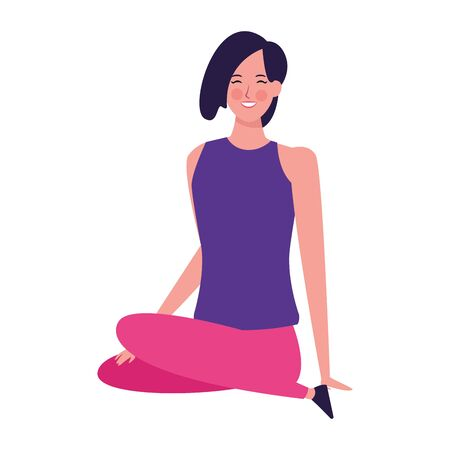 woman sitting with legs crossed icon over white background, vector illustration