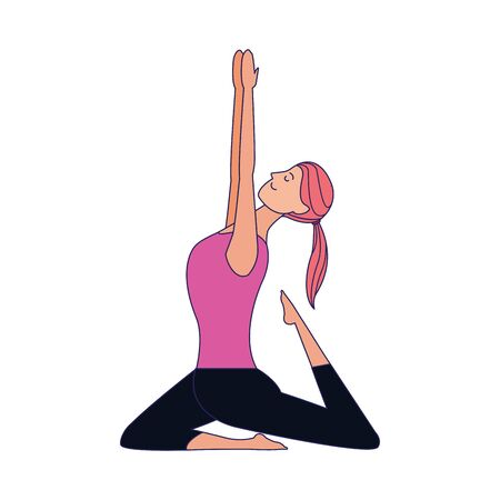 cartoon woman doing yoga warrior pose icon over white background, colorful design , vector illustration