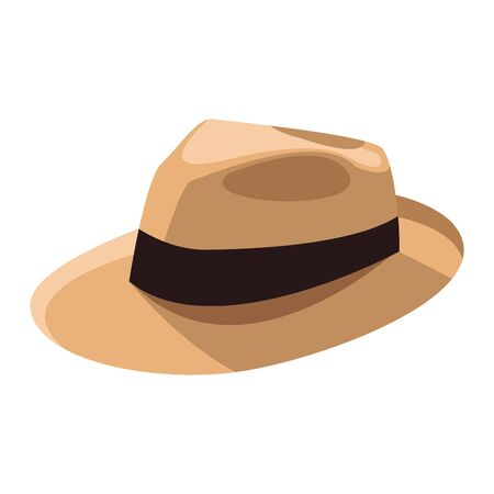 beach hat icon over white background, vector illustration