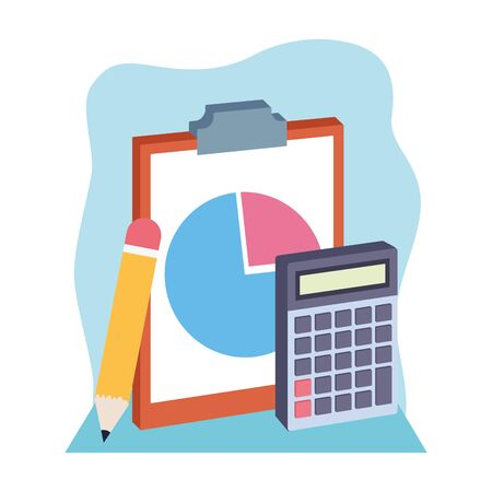clipboard with pencil and calculator over white and blue background, colorful design , vector illustration