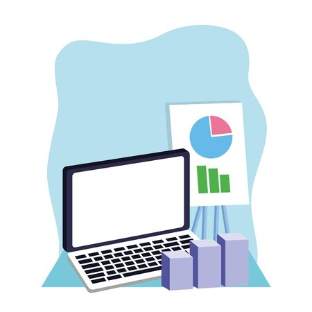 laptop computer with graphic charts over blue and white background, colorful design , vector illustration