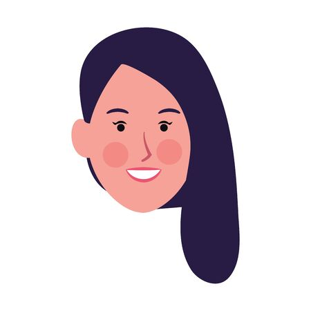 woman face smiling icon over white background, vector illustration Ilustração