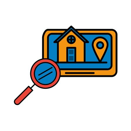 house front facade in tablet with magnifying glass vector illustration design Illusztráció