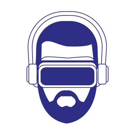 Man with smartglasses design, Augmented reality virtual technology device and modern theme Vector illustration