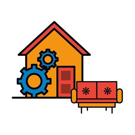 house front facade with sofa livingroom vector illustration design Illusztráció