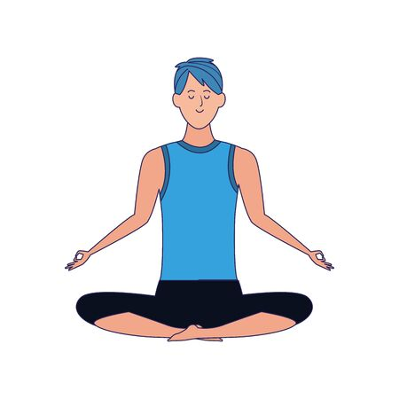 man practicing yoga lotus pose icon over white background, vector illustration