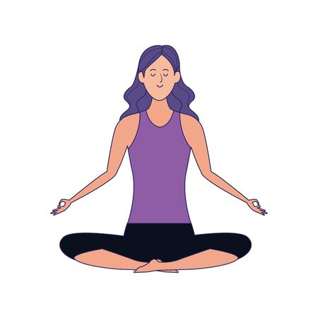 cartoon woman doing yoga lotus pose icon over white background, colorful design , vector illustration