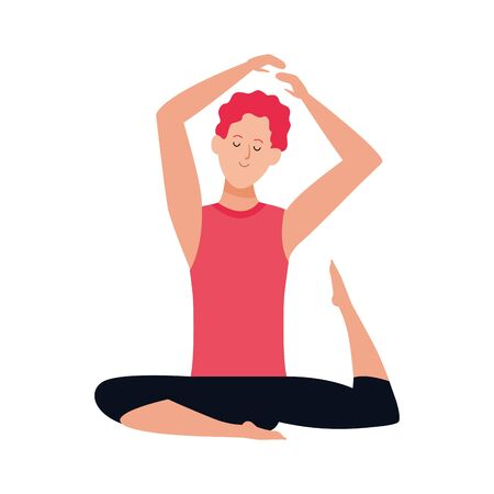 cartoon man doing yoga icon over white background, colorful design , vector illustration Çizim