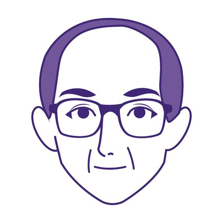old man with glasses icon over white background, vector illustration