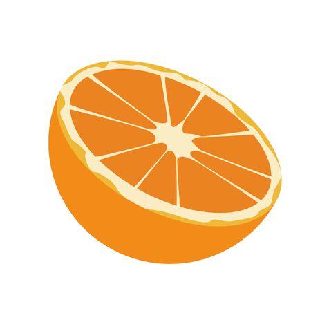 orange slice icon over white background, vector illustration