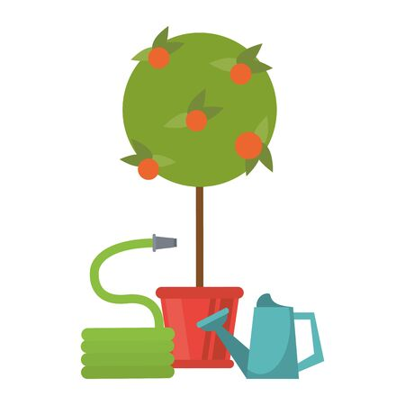 Gardening plants and tools tree with hose and water can