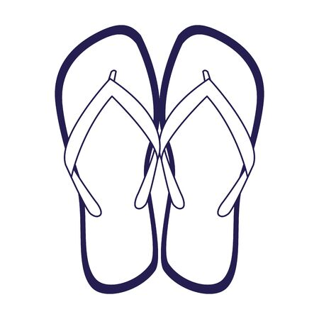 beach sandals icon over white background, vector illustration