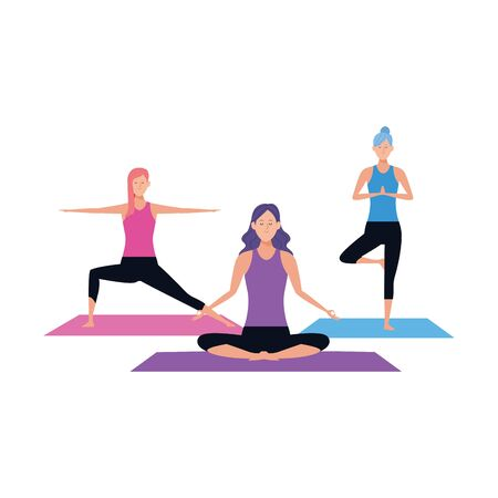 young women practicing yoga icon over white background, vector illustration