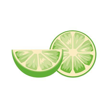 halved lemon icon over white background, vector illustration