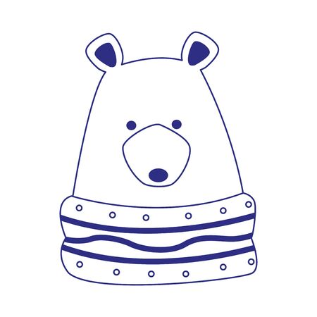 christmas grizzly bear icon over white background, vector illustration