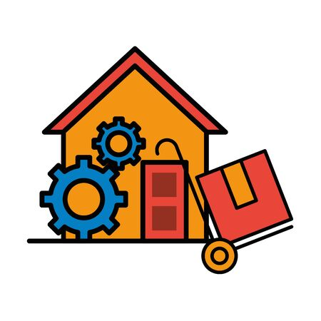 house front facade with delivery cart and box vector illustration design