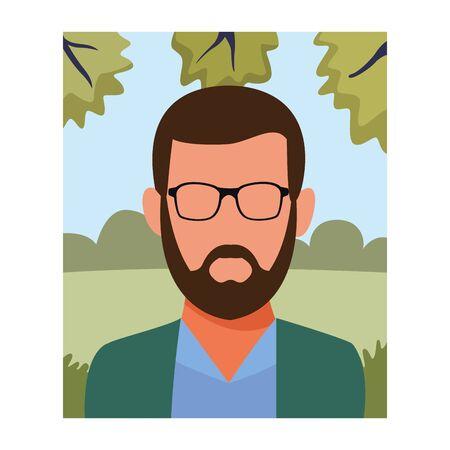 Man with glasses and bear faceless avatar profile in nature park landscape vector illustration graphic design Archivio Fotografico - 137804431