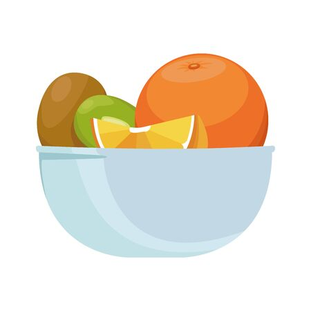 bowl with orange and fruits icon over white background, vector illustration