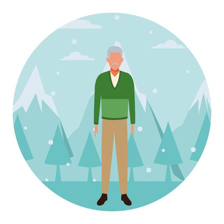 old man wearing sweater cartoon character snow mountain landscape round icon vector illustration graphic design Archivio Fotografico - 137804463