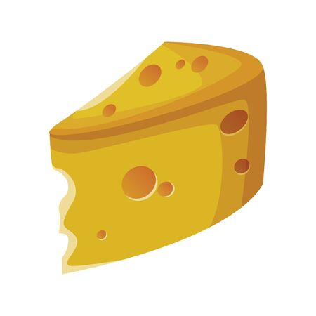 piece of cheese icon over white background, vector illustration Çizim