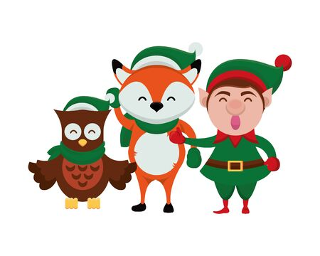 group of characters with christmas clothes vector illustration design