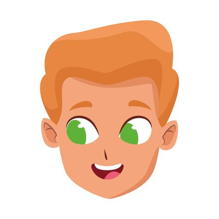 Happy boy with green eyes icon over white background, vector illustration