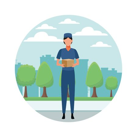Courier with box delivery profession avatar in city park scenery round icon vector illustration graphic design