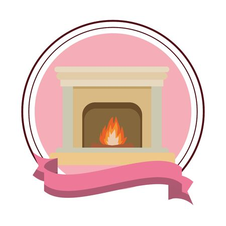 classic fireplace icon isolated round icon and ribbon vector illustration graphic design Illustration