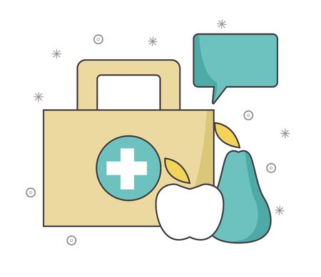 first aid kit with fruits and speech bubble over white background, vector illustration