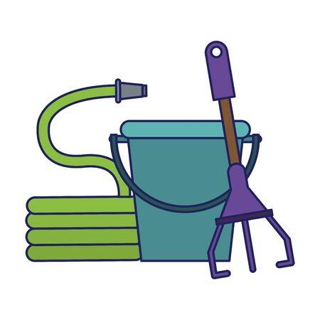Gardening plants and tools bucket rake and hose