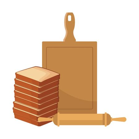 tower of loaves and kitchen utensils over white background, vector illustration
