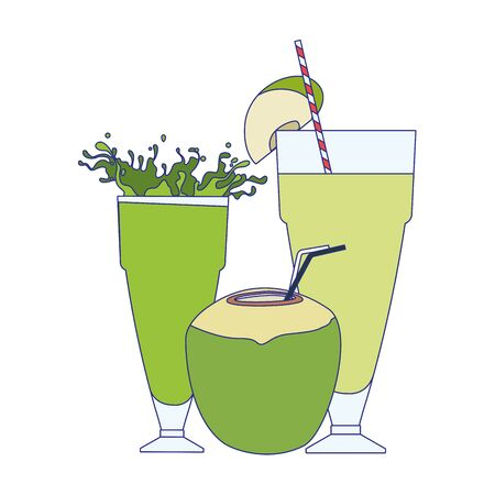 green juices glasses and coconut drink over white background, vector illustration