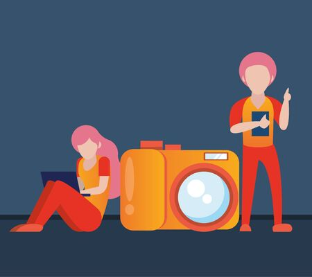 young couple using smartphone and laptop with camera vector illustration design