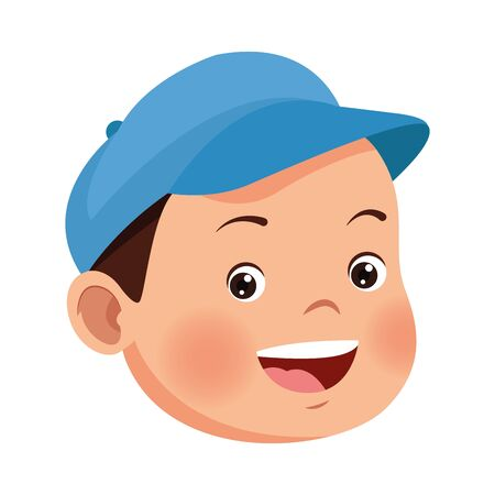 cartoon boy wearing a cap icon over white background, vector illustration Ilustracja