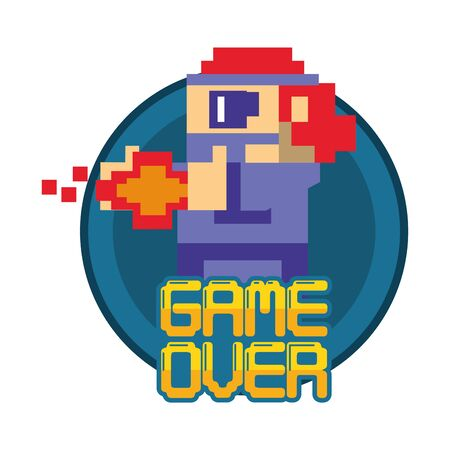 video game pixelated warrior with game over message vector illustration design Vectores