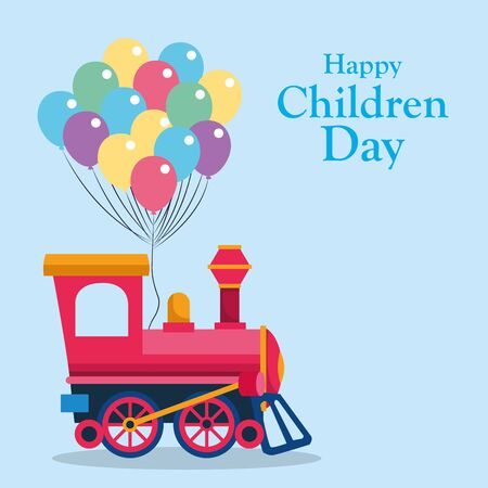 Happy children day design with empty train cabin and colorful balloons over blue background, vector illustration