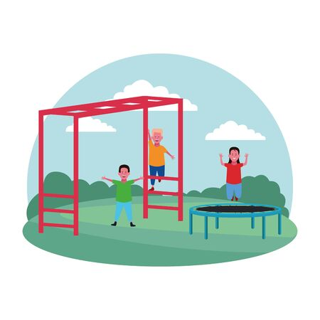 kids zone, happy girl jump trampoline and boys playing monkey bars playground vector illustration
