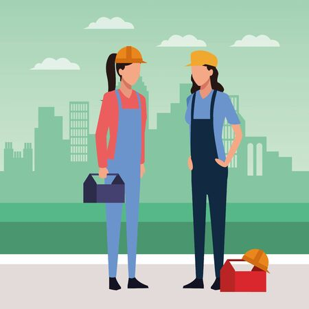 Builder and engineer women standing icon over green background of urban city, colorful design, vector illustration Vectores