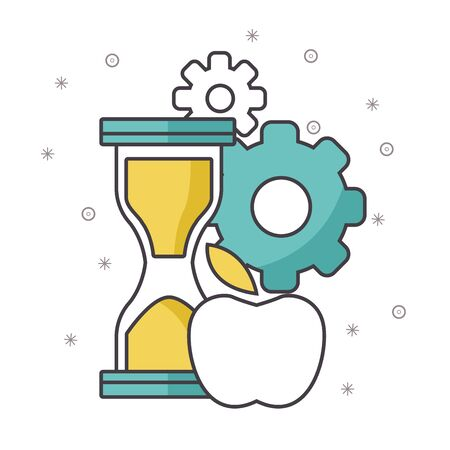 hourglass with gears wheels and apple over white background, vector illustration
