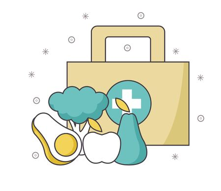first aid kit with vegetables and fruits over white background, vector illustration Ilustração