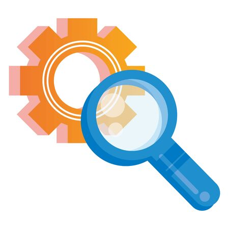 search magnifying glass with gear vector illustration design