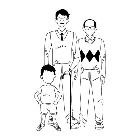 old man, man and boy standing over white background, vector illustration 向量圖像