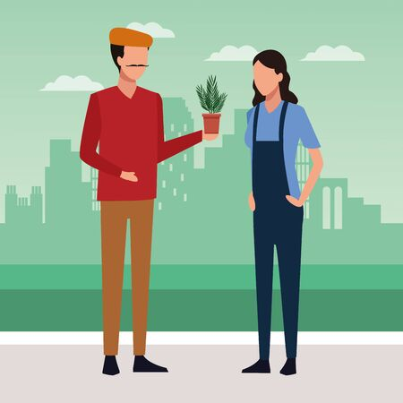 Artist man holding a plant pot and woman standing over city background, colorful design, vector illustration