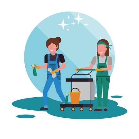 housekeeping female workers with equipment characters vector illustration design Vettoriali