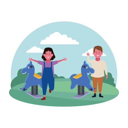 kids zone, smiling boy and girl with spring horses playground vector illustration