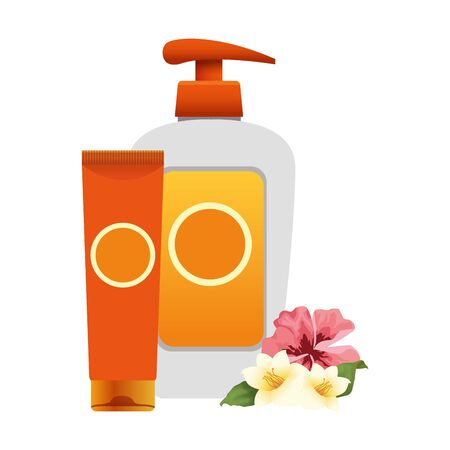 tropical flowers and sunscreens bottles over white background, colorful design, vector illustration