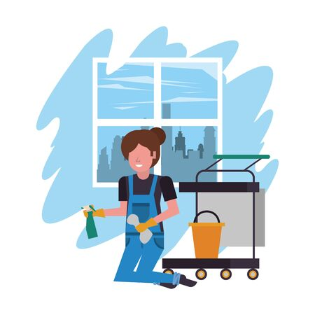 housekeeping woman worker with splash bottle vector illustration design Illusztráció