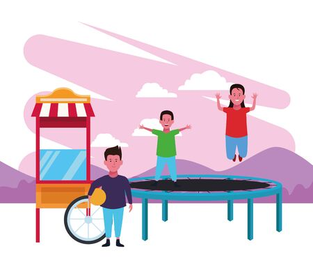 kids zone boy and girl jumping trampoline and boy with ball food booth playground vector illustration