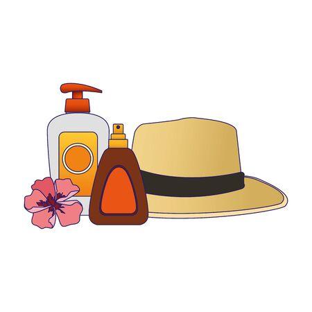hat and sun bronzer bottle icon over white background, colorful design, vector illustration Illustration
