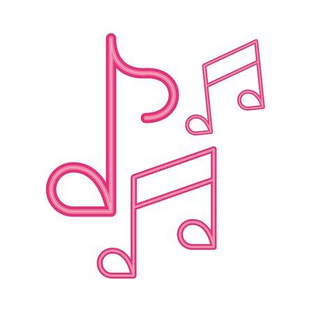 music notes sound neon light label vector illustration design Ilustração